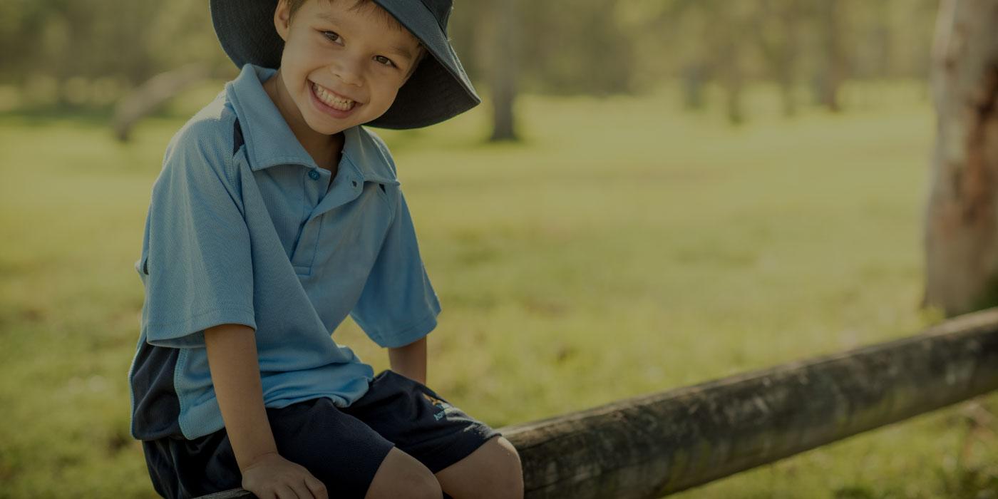 Country school boy on fence